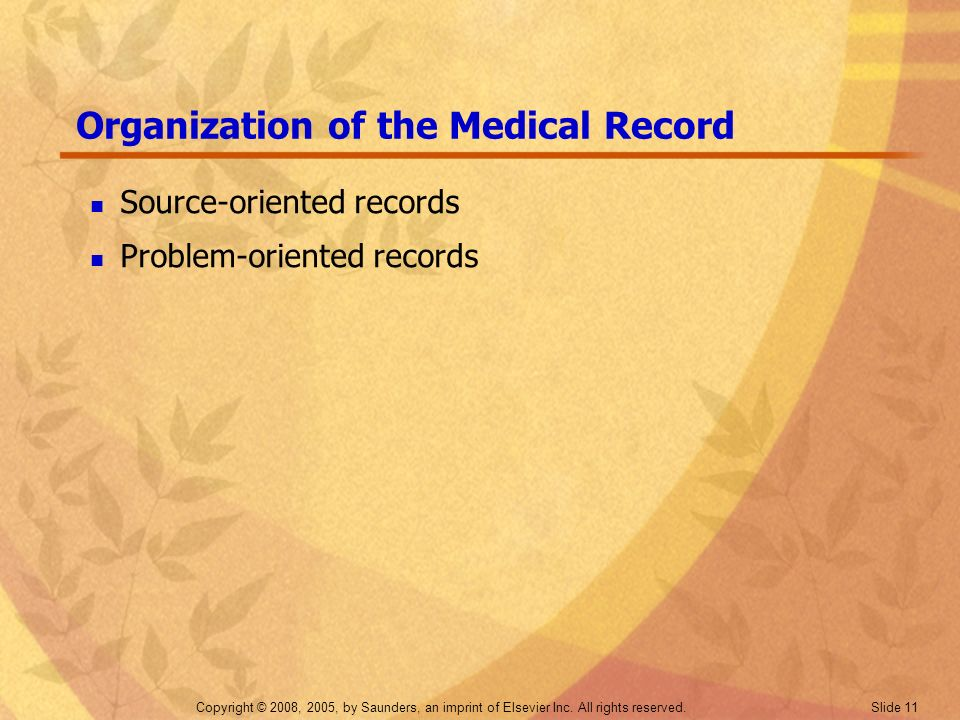 Organization of the Medical Record