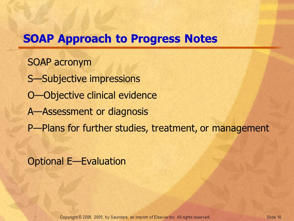 SOAP Approach to Progress Notes