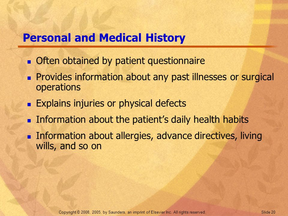 Personal and Medical History