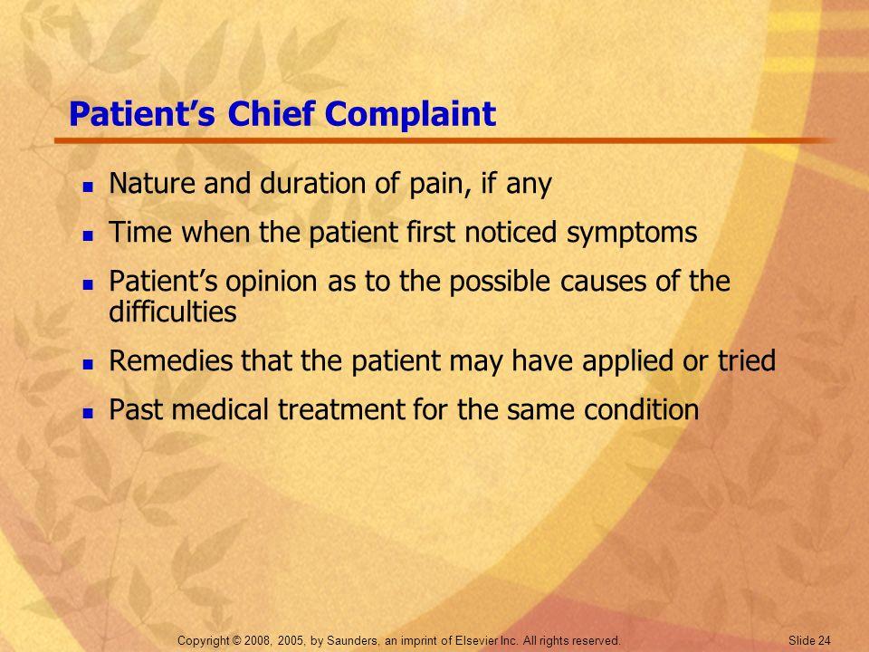 Patient's Chief Complaint