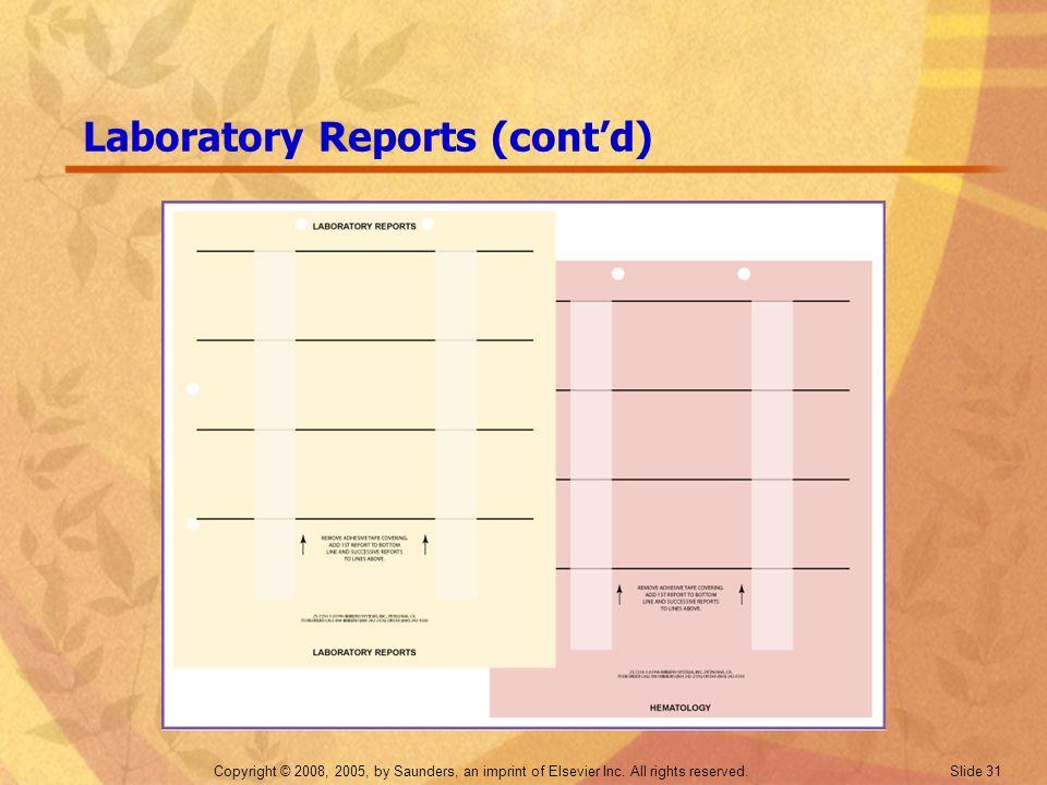 Laboratory Reports (cont'd)