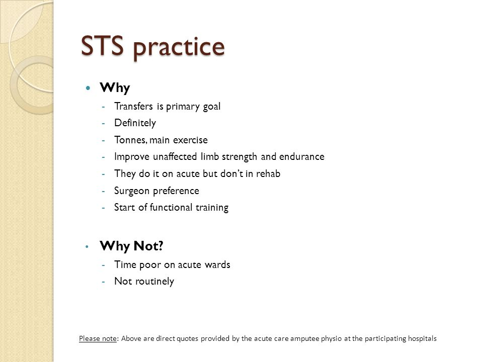 STS practice Why Why Not Transfers is primary goal Definitely