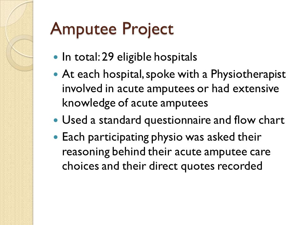 Amputee Project In total: 29 eligible hospitals