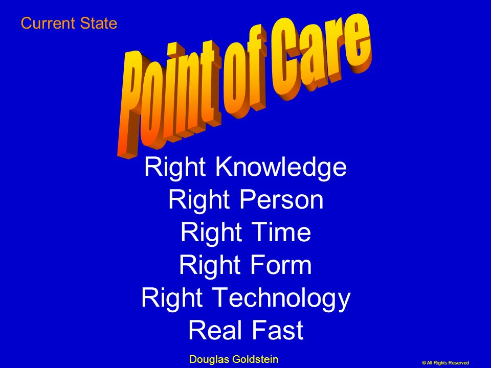Current State Point of Care. Right Knowledge Right Person Right Time Right Form Right Technology Real Fast.