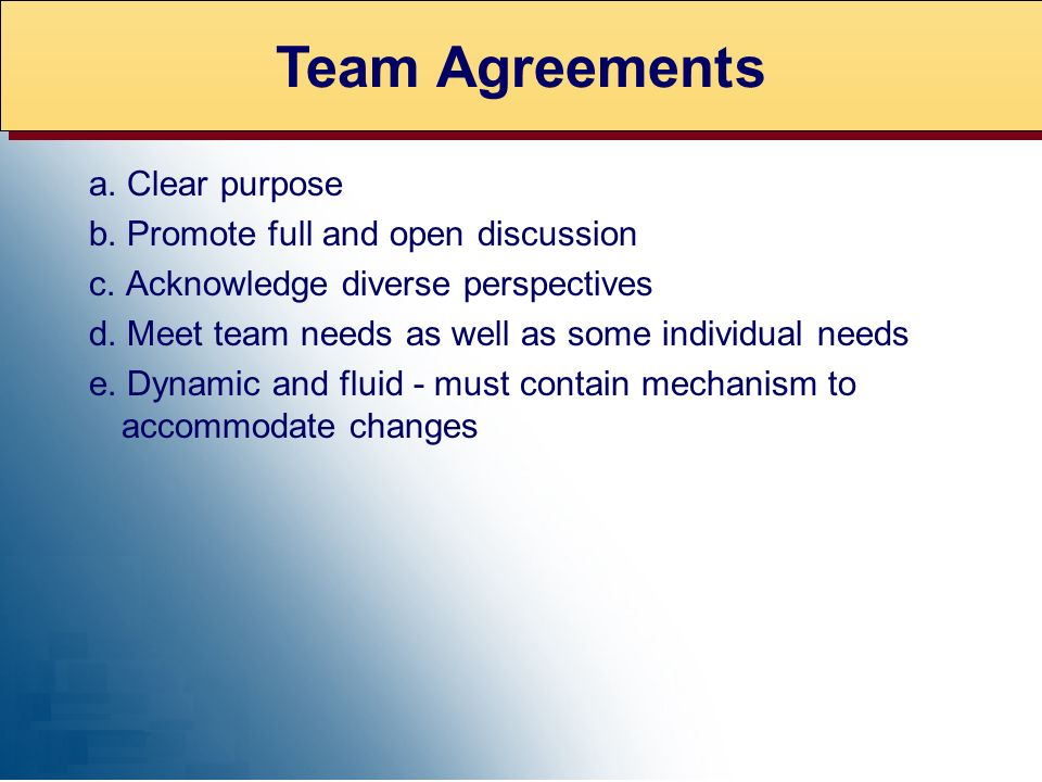 EXPERT ADVICE Team Agreements a. Clear purpose