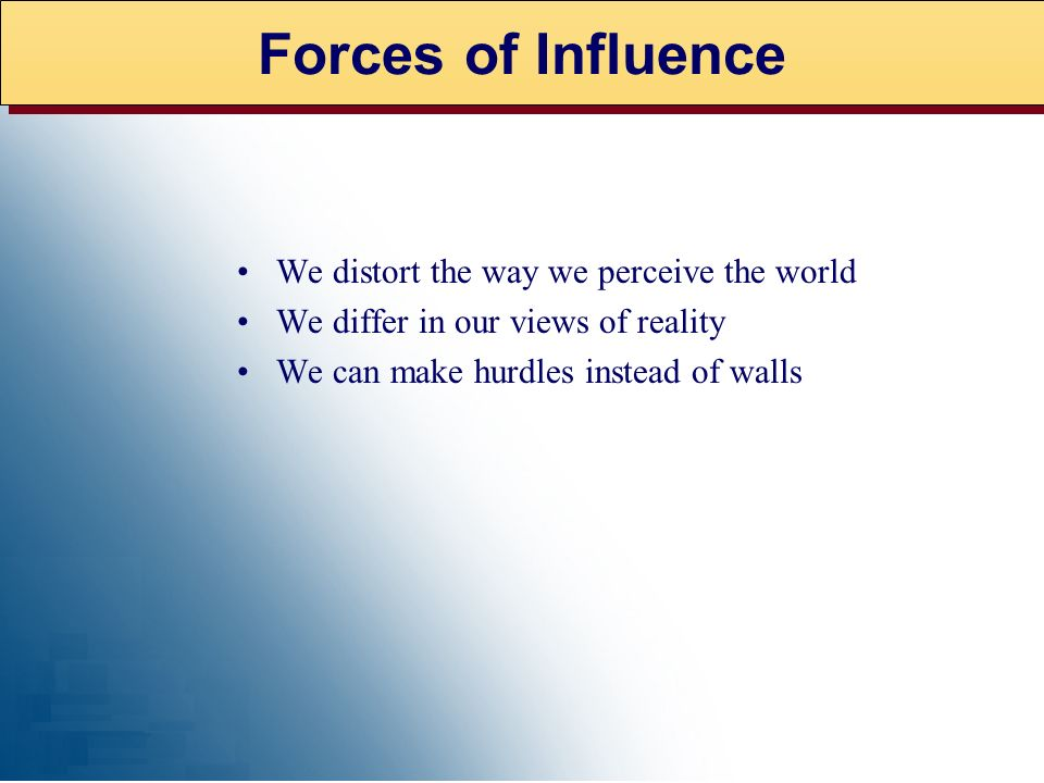 Forces of Influence We distort the way we perceive the world
