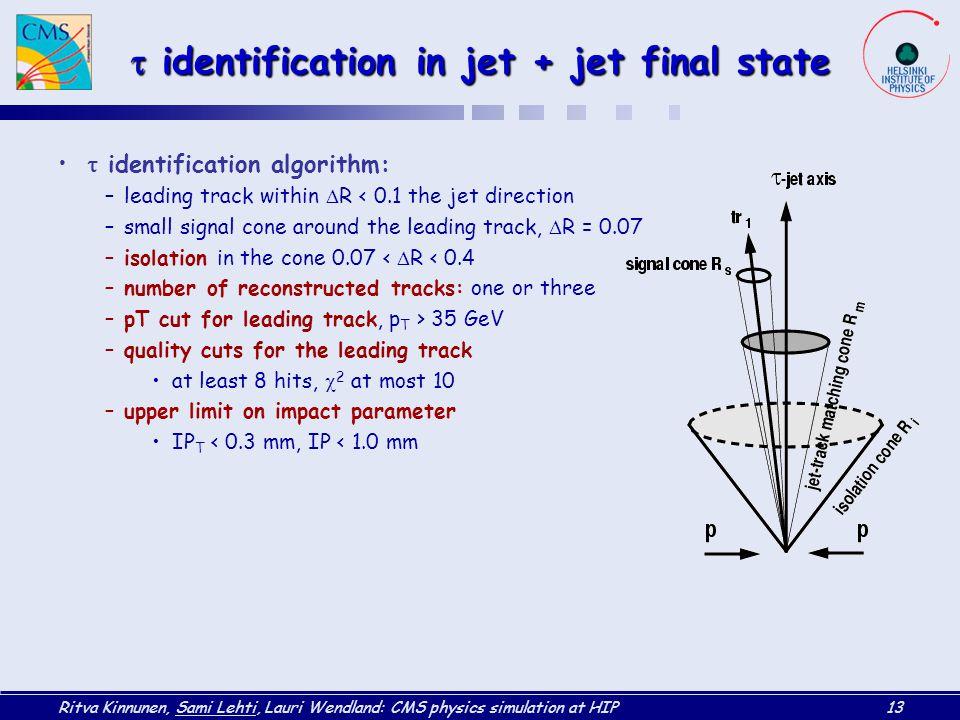 t identification in jet + jet final state