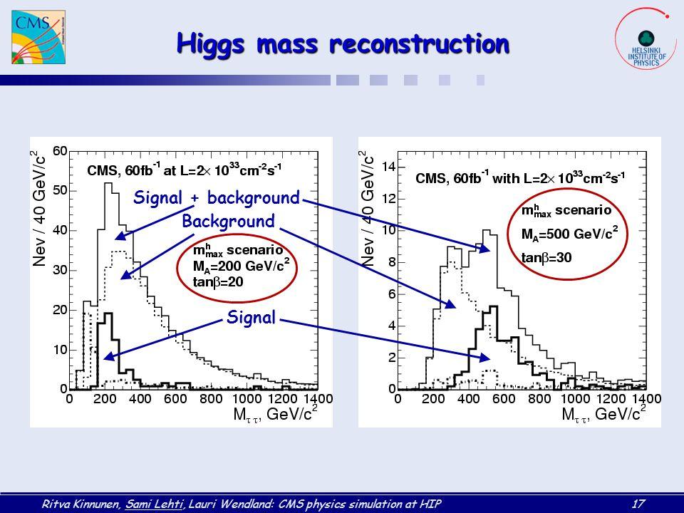 Higgs mass reconstruction