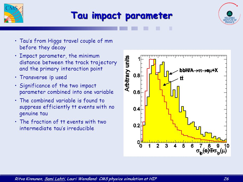 Tau impact parameter Tau's from Higgs travel couple of mm before they decay.