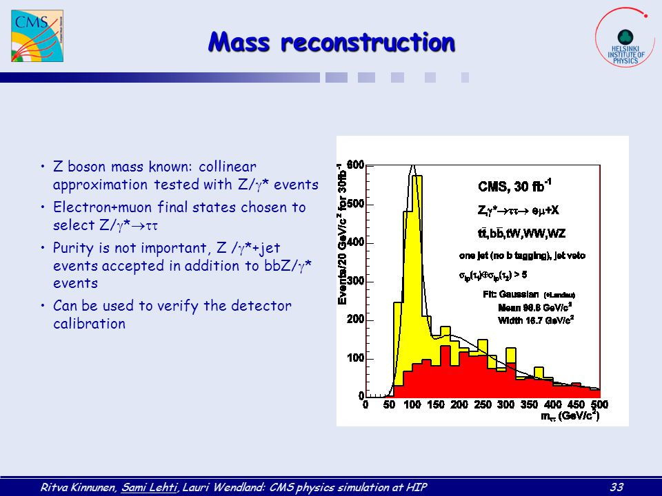 Mass reconstruction Z boson mass known: collinear approximation tested with Z/* events. Electron+muon final states chosen to select Z/*