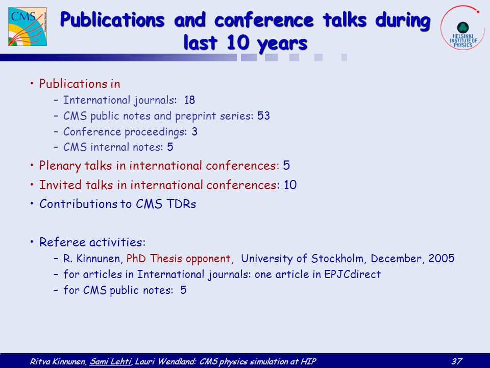 Publications and conference talks during last 10 years
