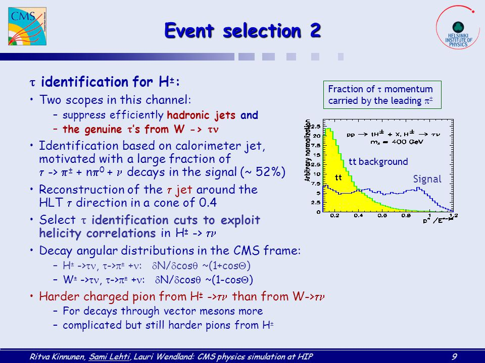 Event selection 2 t identification for H±: Two scopes in this channel: