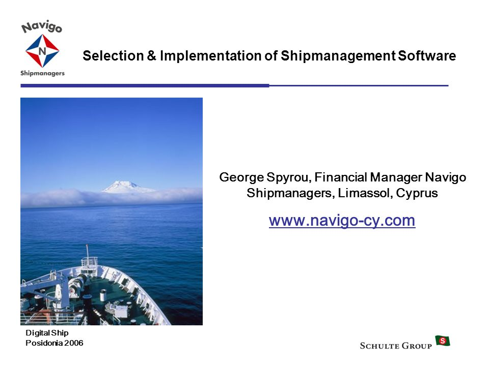 George Spyrou, Financial Manager Navigo Shipmanagers, Limassol, Cyprus