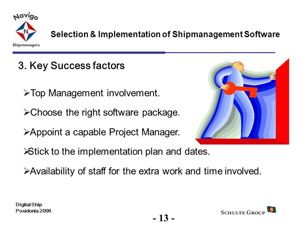 3. Key Success factors - 13 - Top Management involvement.