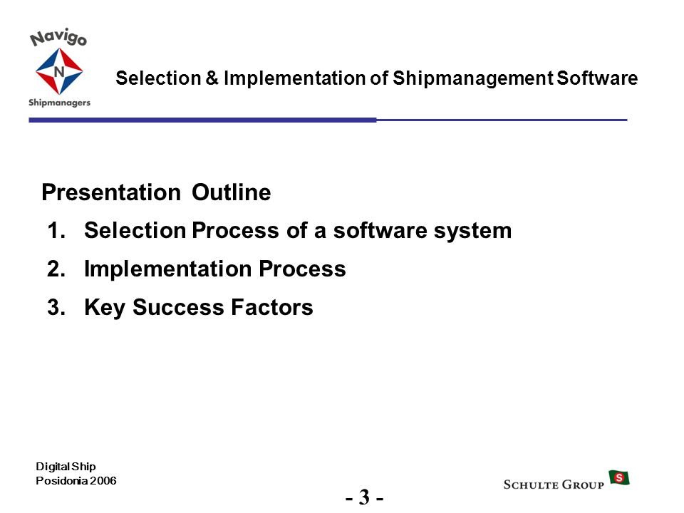 Presentation Outline Selection Process of a software system