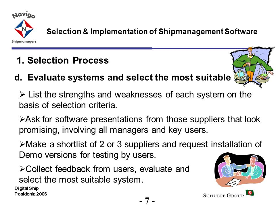 1. Selection Process d. Evaluate systems and select the most suitable