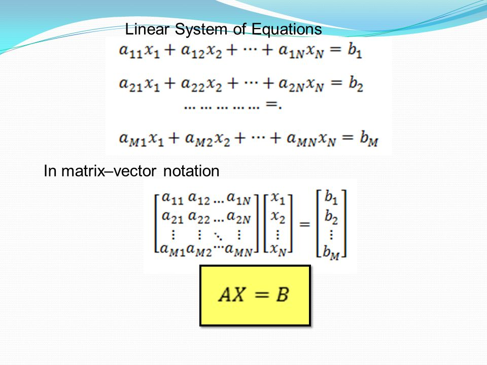 Linear System of Equations