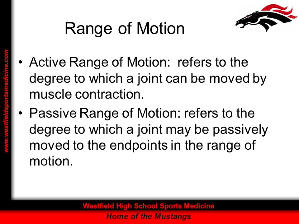 Range of Motion Active Range of Motion: refers to the degree to which a joint can be moved by muscle contraction.
