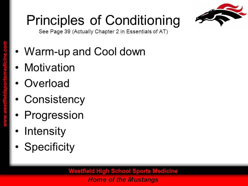 Principles of Conditioning See Page 39 (Actually Chapter 2 in Essentials of AT)