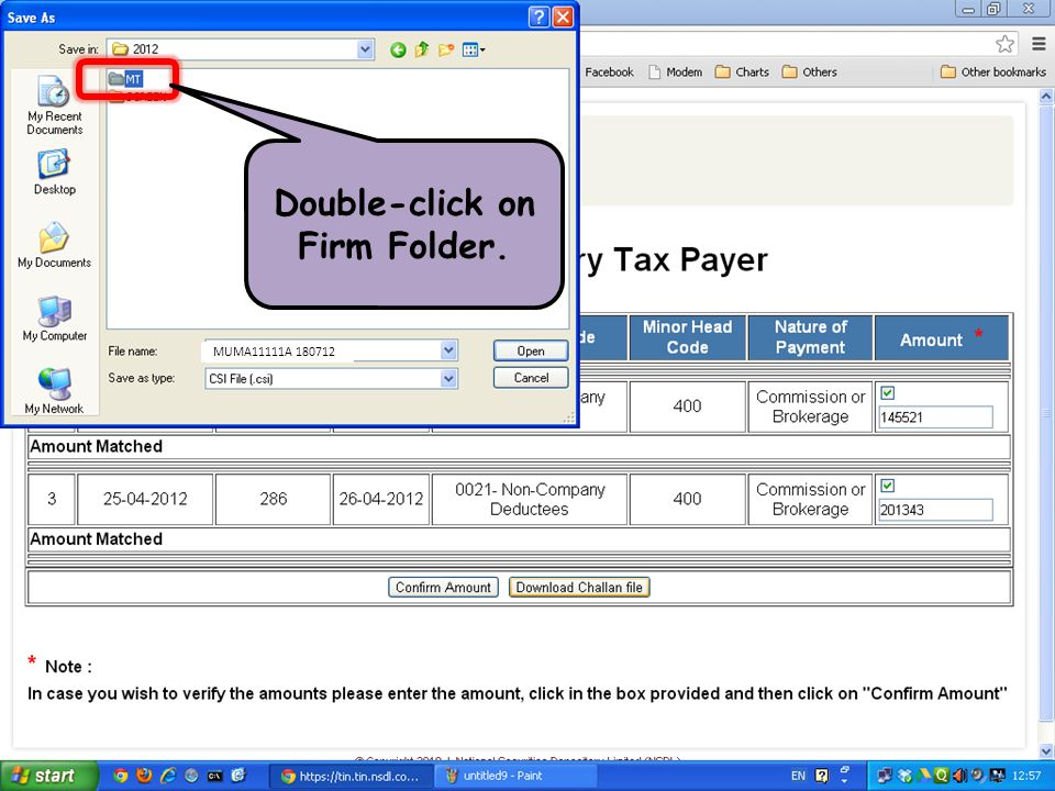 Double-click on Firm Folder.