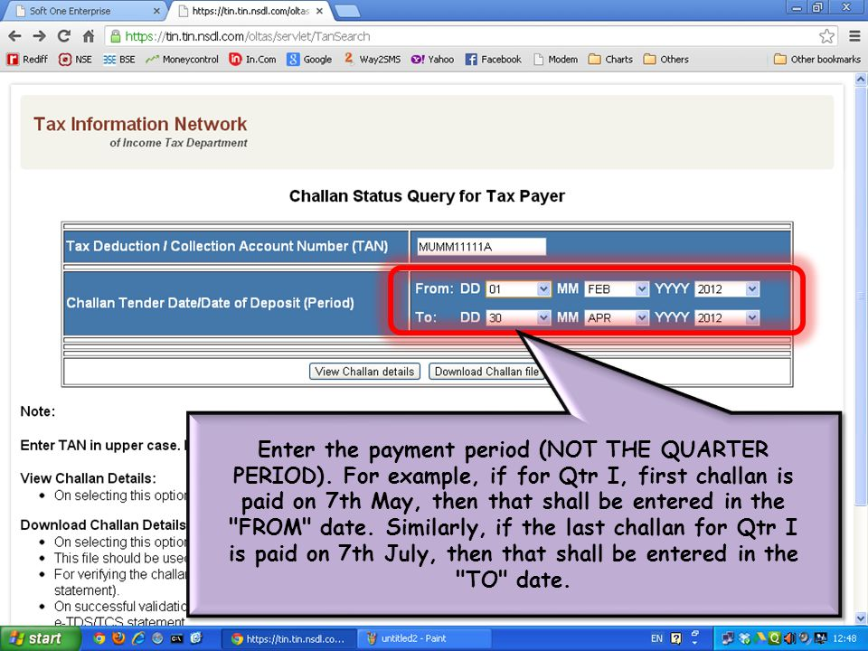 Enter the payment period (NOT THE QUARTER