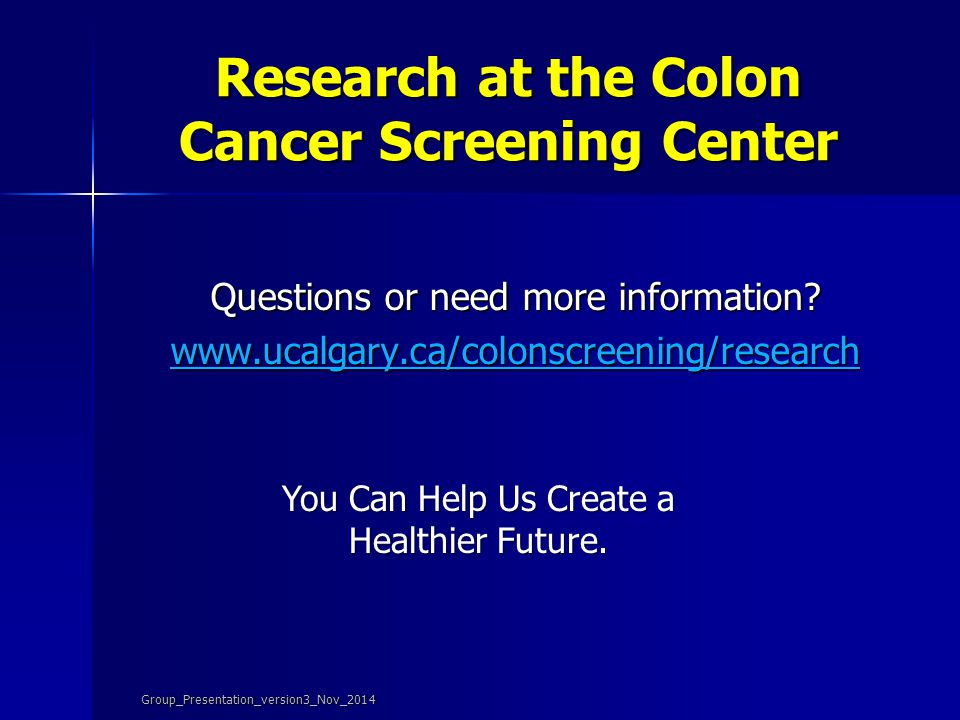 Research at the Colon Cancer Screening Center