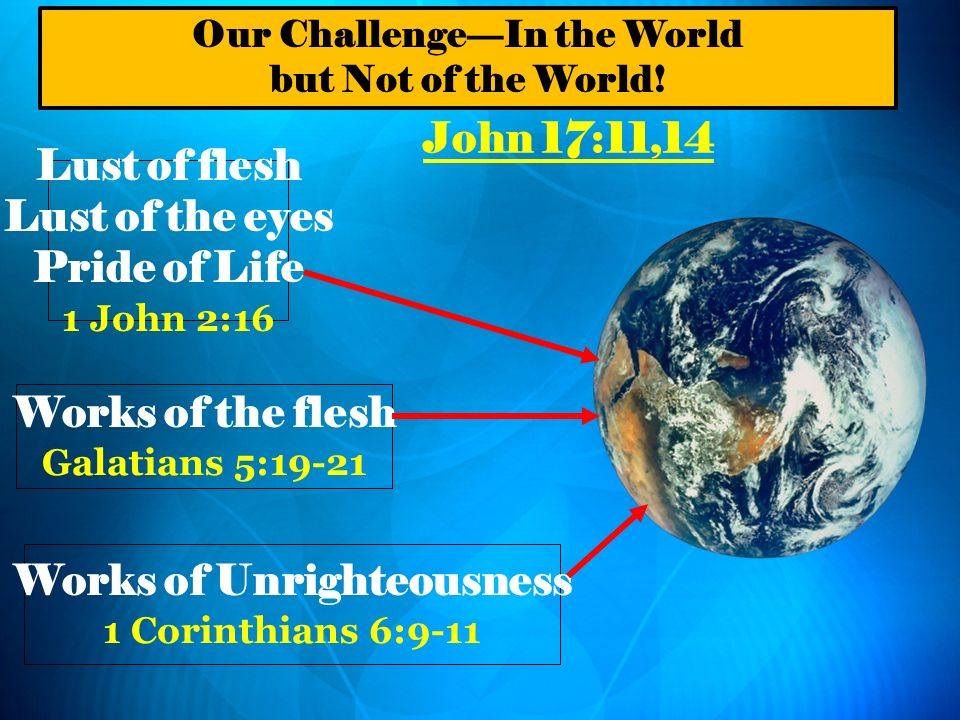 Our Challenge—In the World Works of Unrighteousness