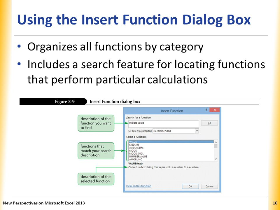 Using the Insert Function Dialog Box