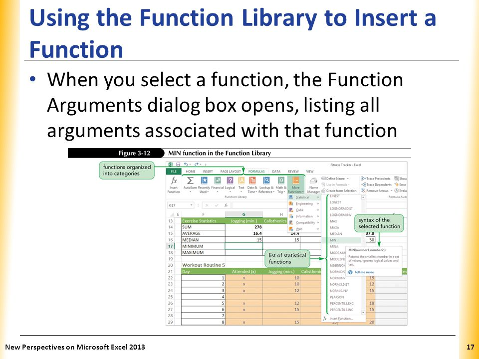 Using the Function Library to Insert a Function