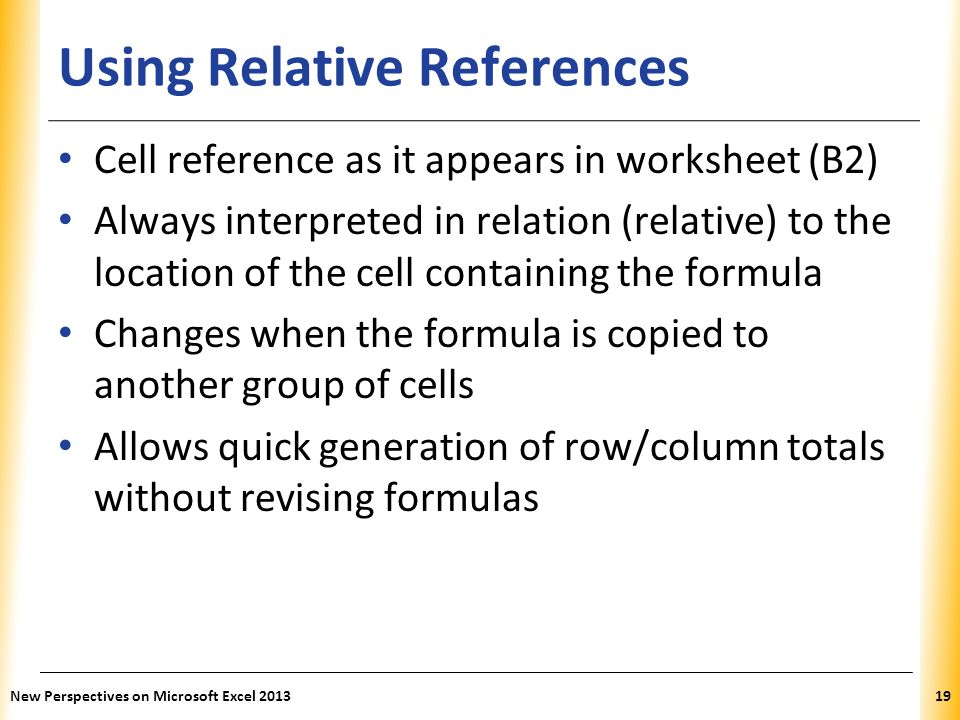 Using Relative References