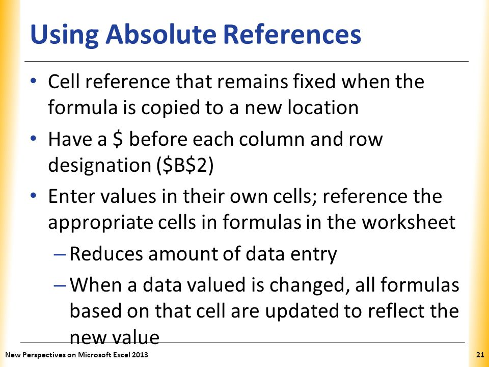 Using Absolute References
