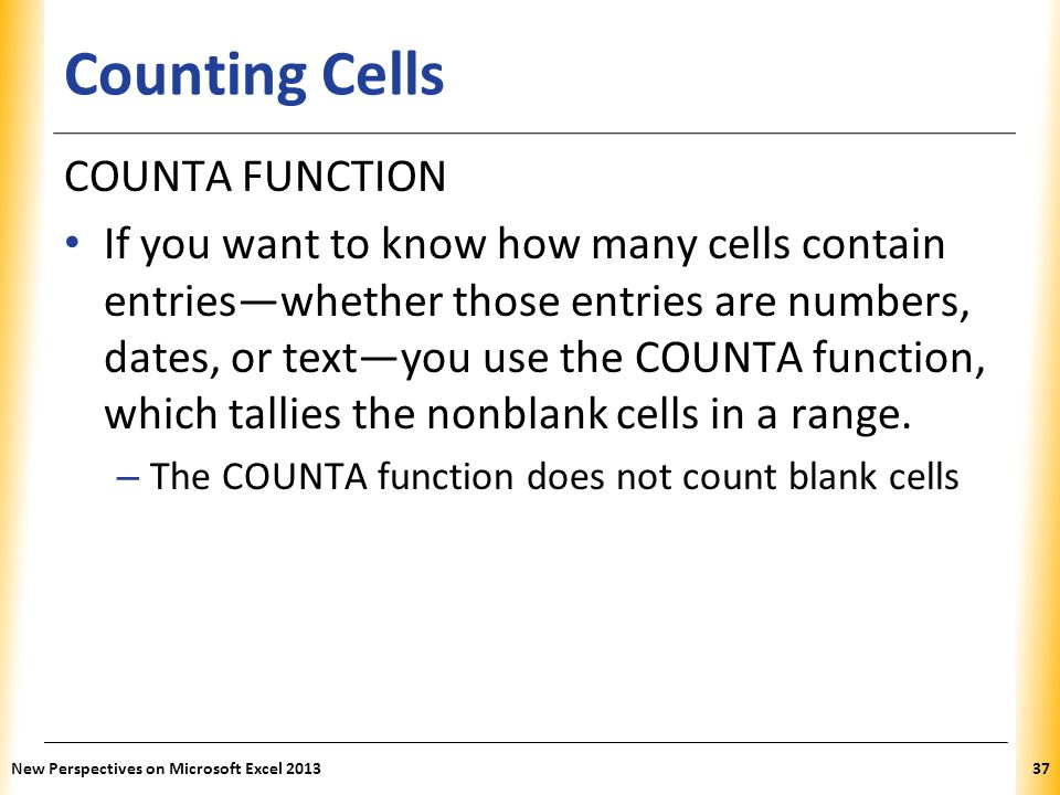 Counting Cells COUNTA FUNCTION