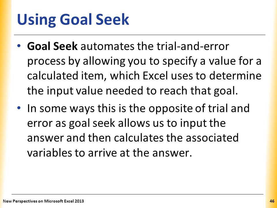 Using Goal Seek
