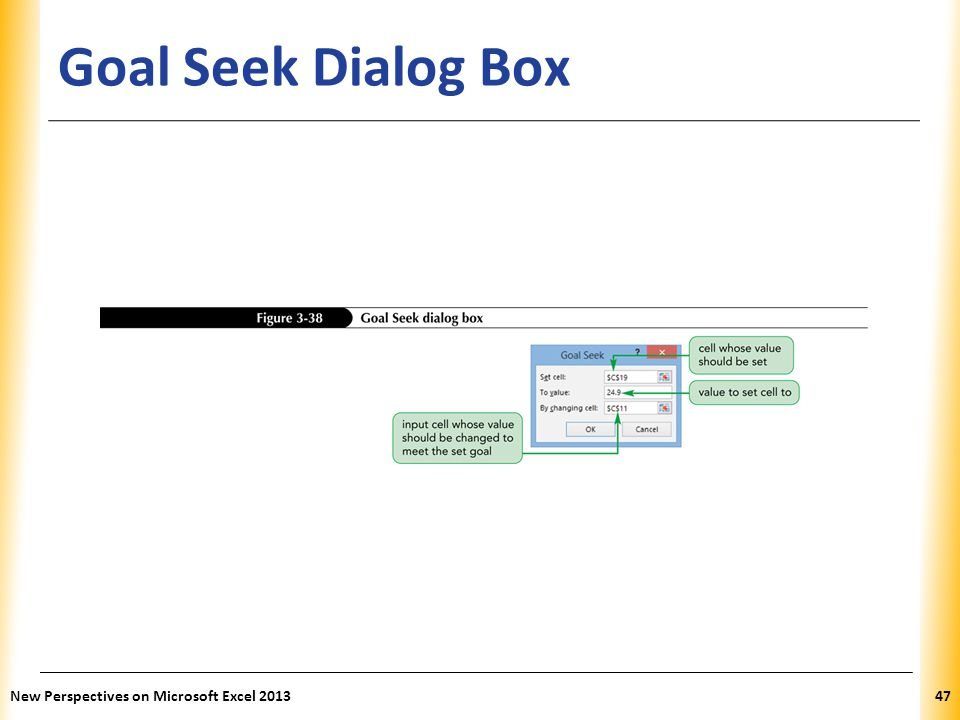 Goal Seek Dialog Box New Perspectives on Microsoft Excel 2013