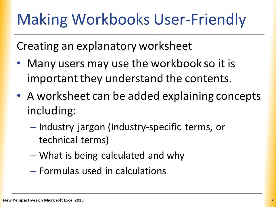 Making Workbooks User-Friendly