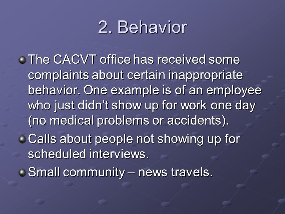 2. Behavior