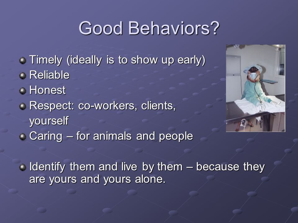 Good Behaviors Timely (ideally is to show up early) Reliable Honest