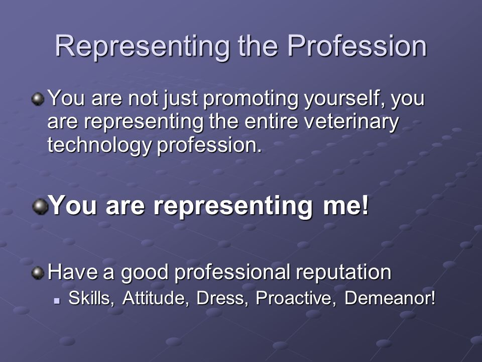 Representing the Profession