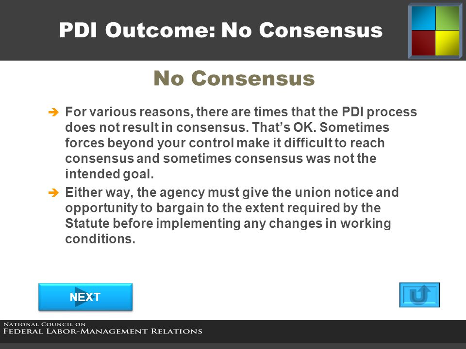 PDI Outcome: No Consensus