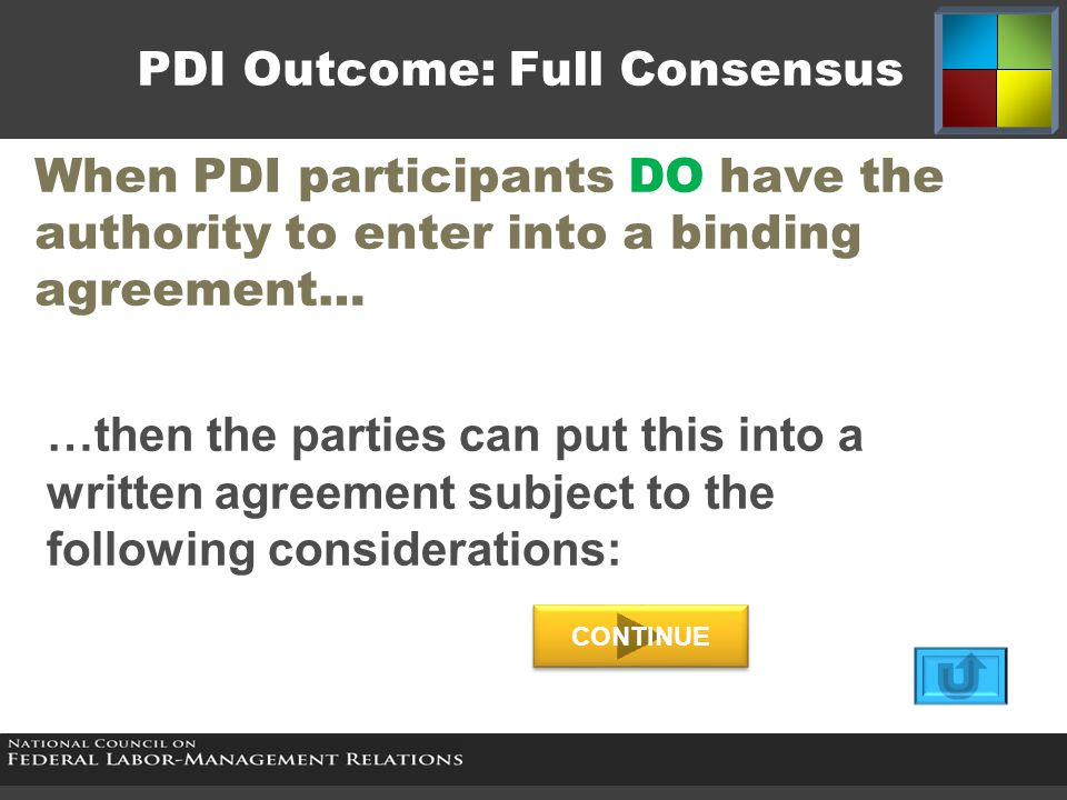 PDI Outcome: Full Consensus