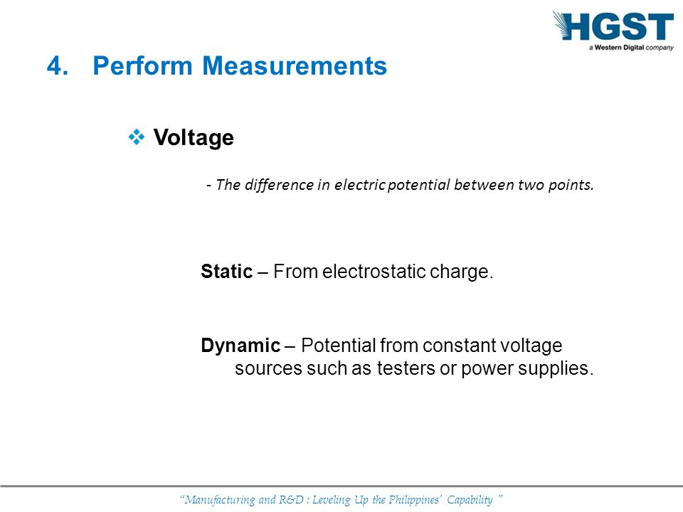 Perform Measurements Voltage Static – From electrostatic charge.