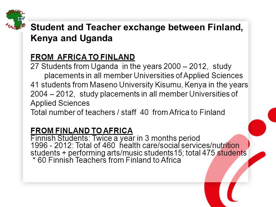 Student and Teacher exchange between Finland, Kenya and Uganda