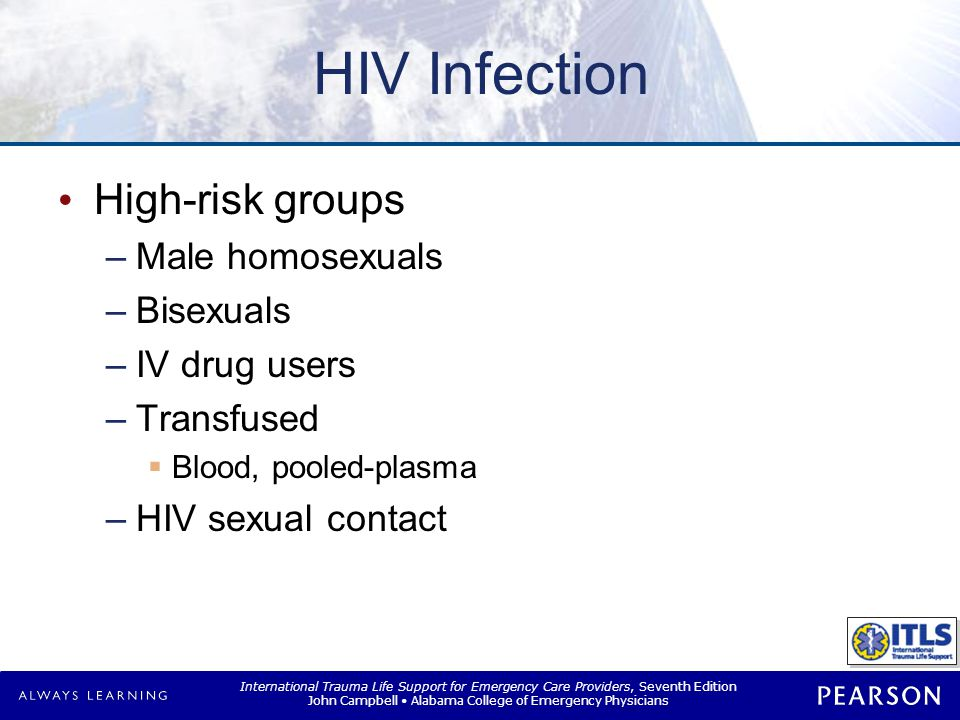 HIV Infection Clinical manifestation Chronic carrier risk: 100%