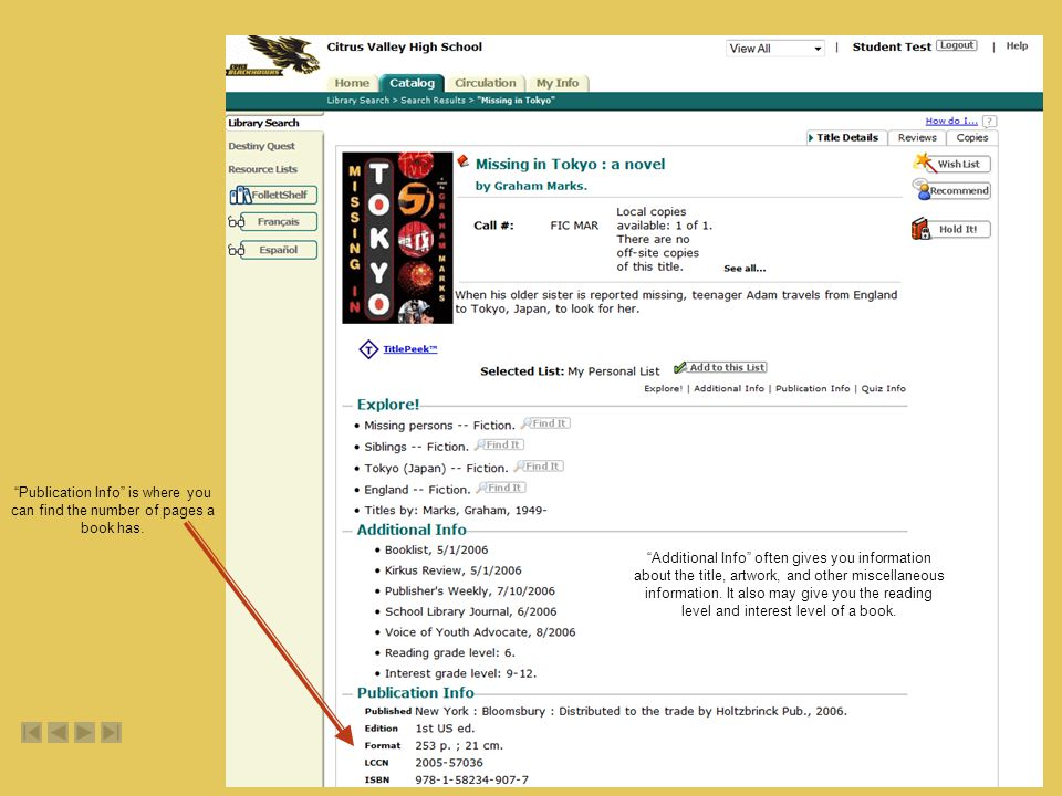 Publication Info is where you can find the number of pages a book has.