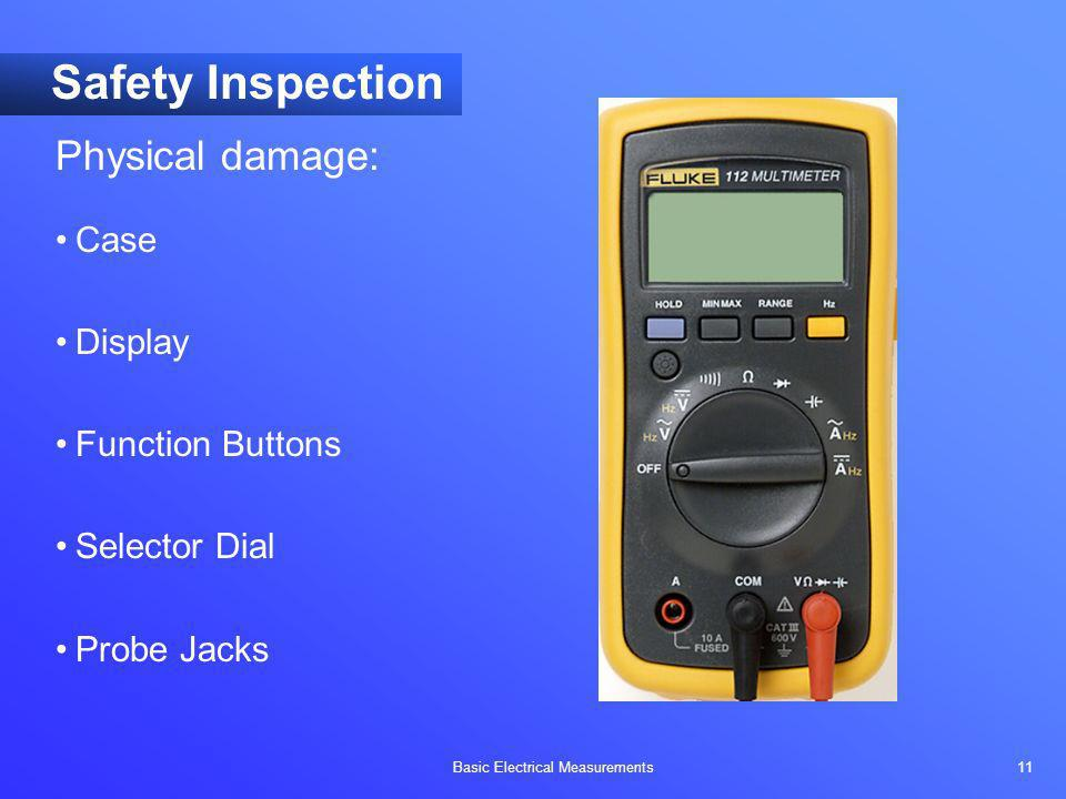 Safety Inspection Physical damage: Case Display Function Buttons