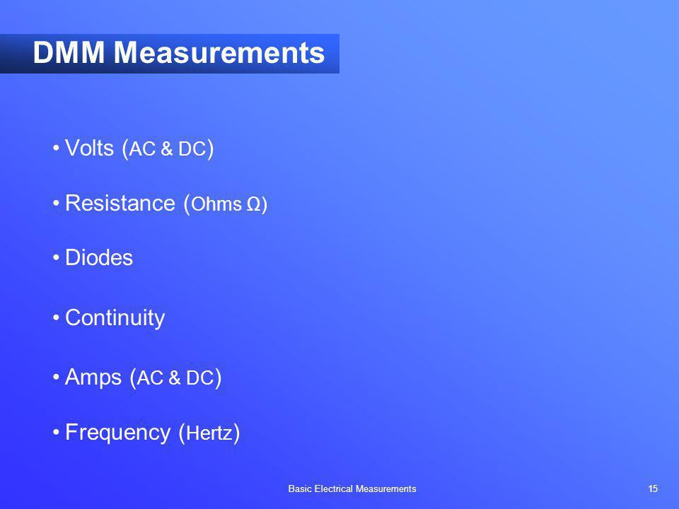 DMM Measurements Volts (AC & DC) Resistance (Ohms Ω) Diodes Continuity