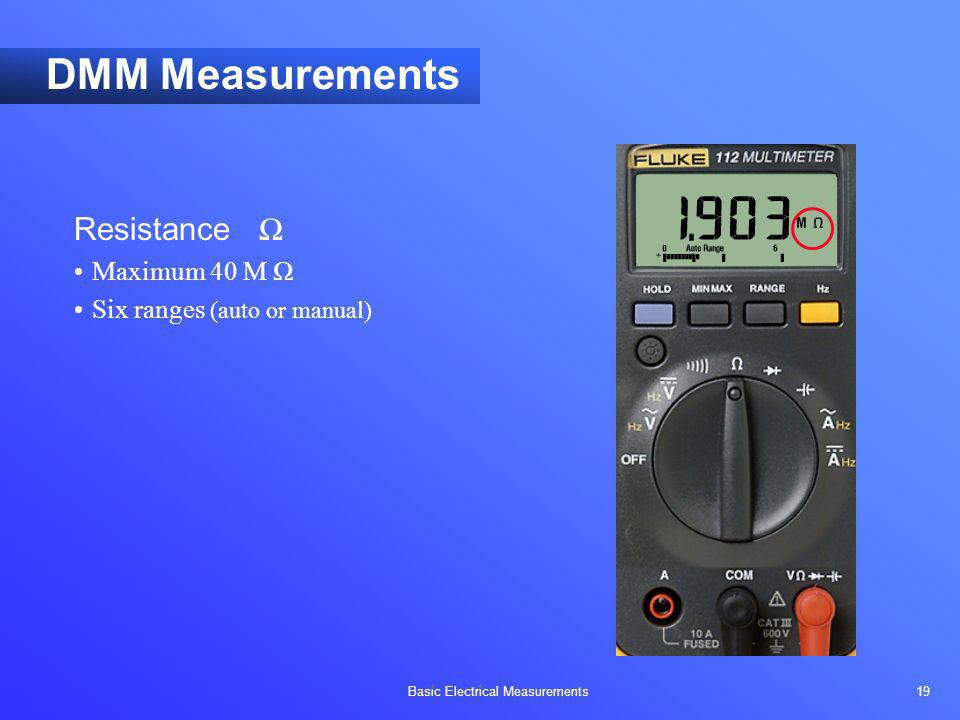 DMM Measurements Resistance Ω Maximum 40 M Ω