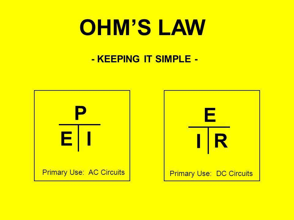 OHM'S LAW P E E I I R - KEEPING IT SIMPLE - Primary Use: AC Circuits
