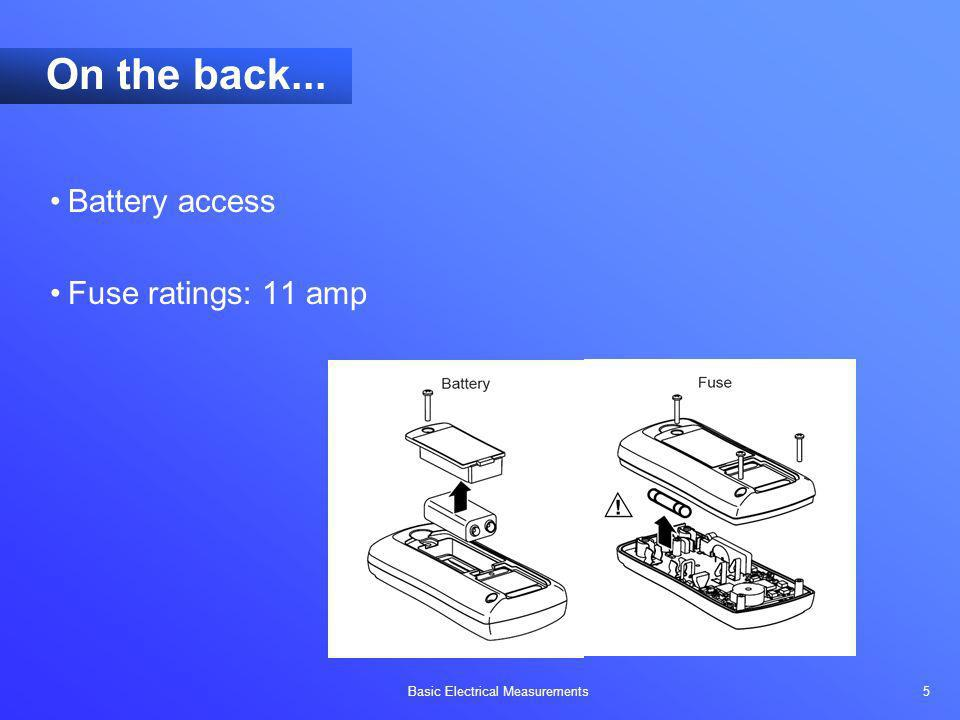 On the back... Battery access Fuse ratings: 11 amp Objectives: