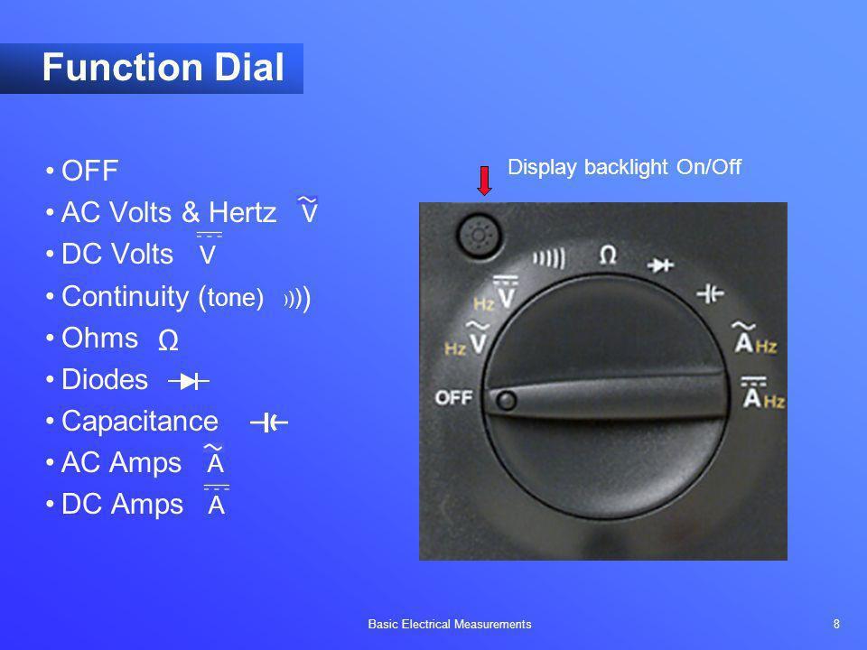 Function Dial OFF AC Volts & Hertz V DC Volts V Continuity (tone) Ohms